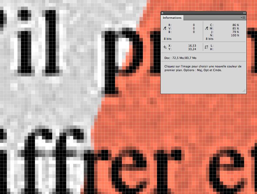 un pixel en noir RVB, avant sa transformation en CMJN
